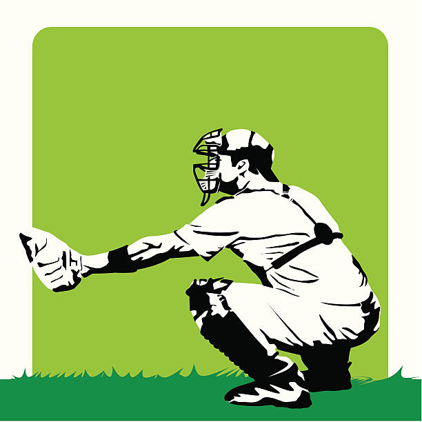 Baseball - Stylized catcher vector art illustration