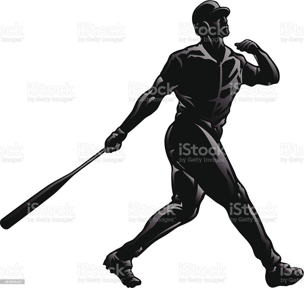 Baseball Swing Through Silhouette royalty-free stock vector art