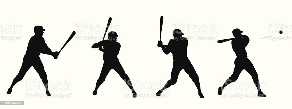 Baseball Swing Vector Silhouette vector art illustration