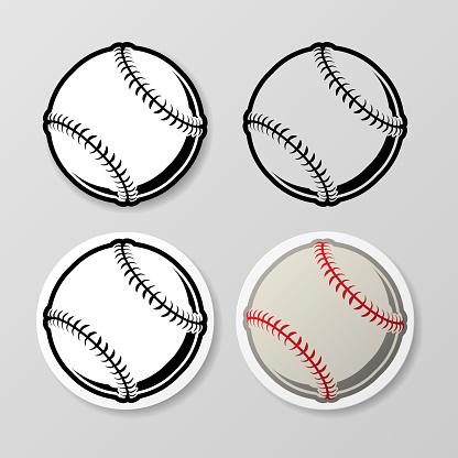 Baseball symbol stickers set