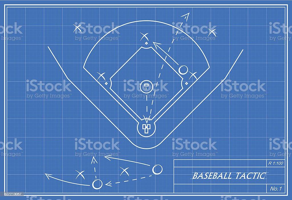 baseball tactic auf Technische Zeichnung – Vektorgrafik