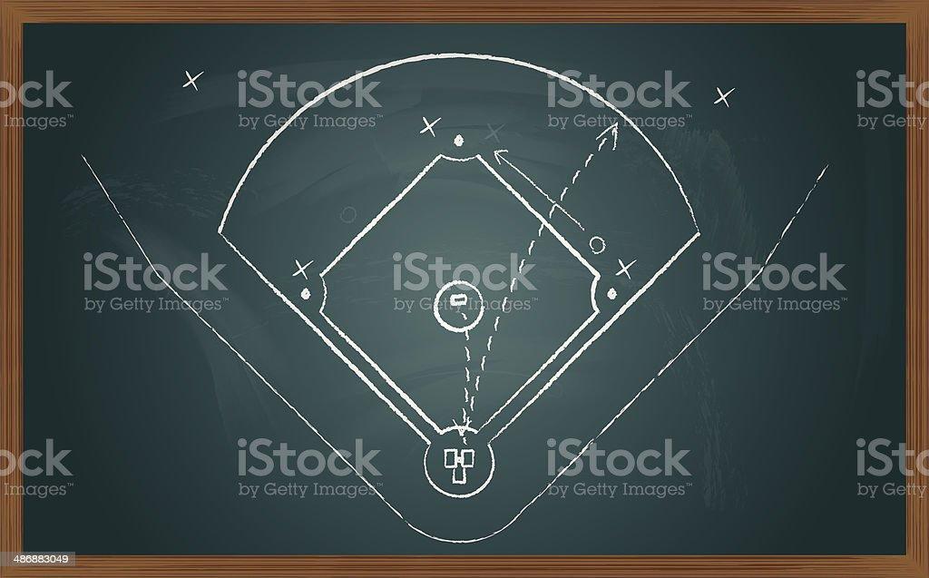 baseball tactic on board vector art illustration
