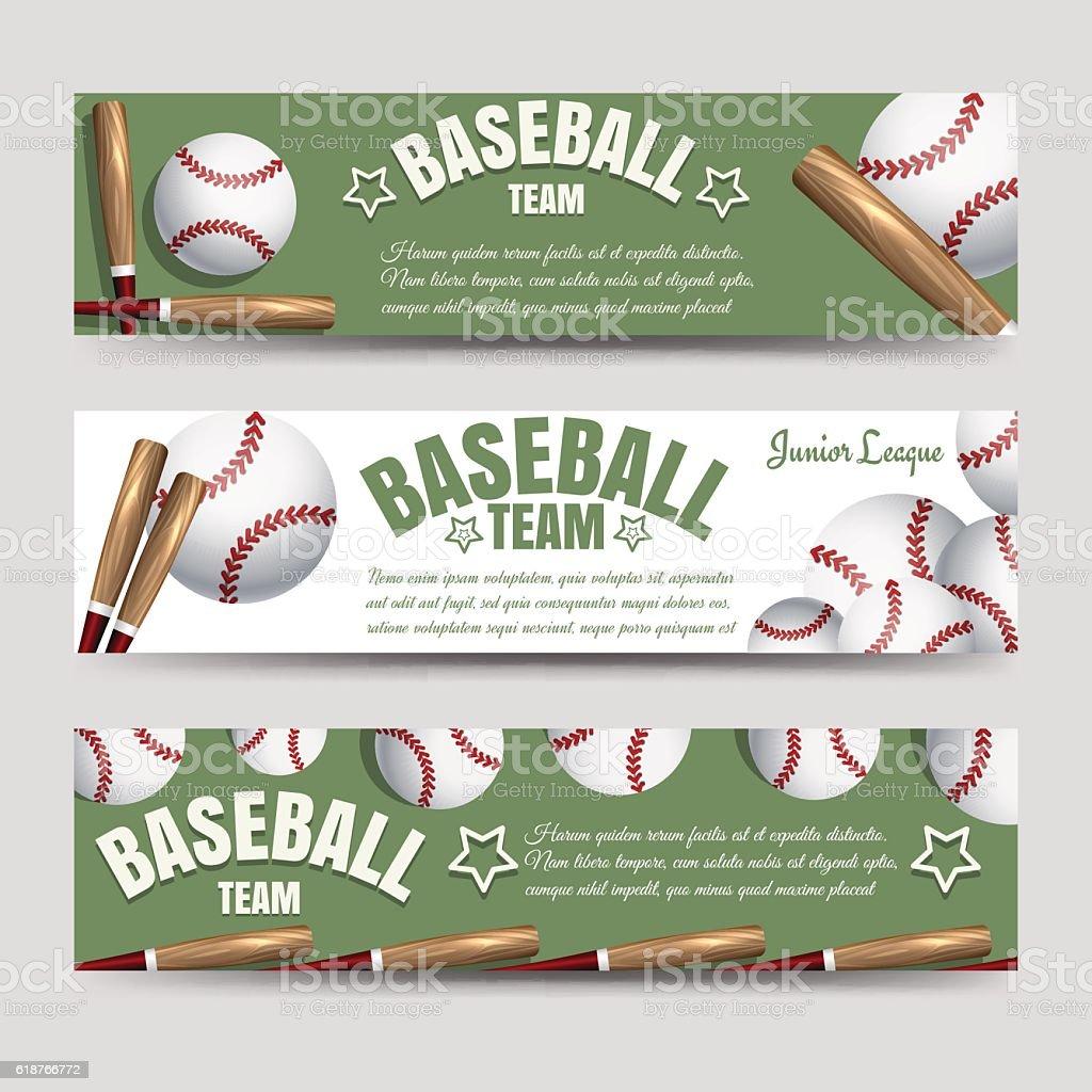 Baseball team banners vector art illustration