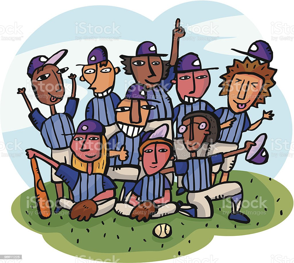 Baseball Team getting team picture on baseball field vector art illustration