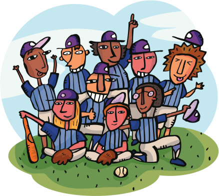 Baseball Team Getting Team Picture On Baseball Field Stockvectorkunst en meer beelden van Alleen tienerjongens