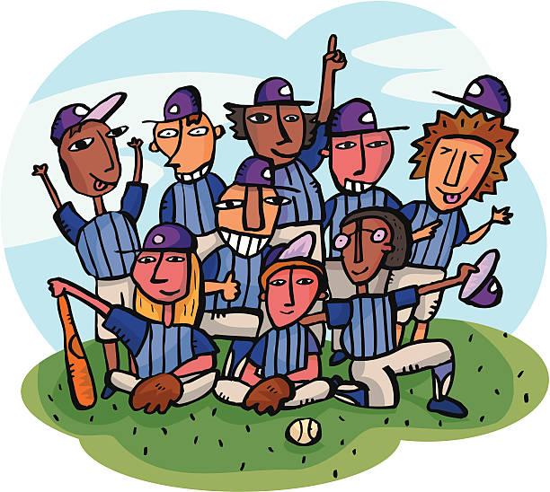 Baseball Team getting team picture on baseball field vector art illustration