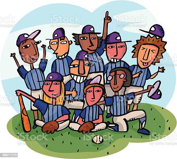 Baseball Team Getting Team Picture On Baseball Field-vektorgrafik och fler bilder på Barndom