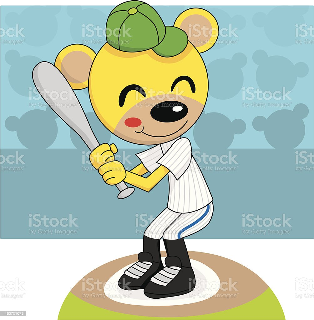 Baseball Teddy Bear royalty-free stock vector art