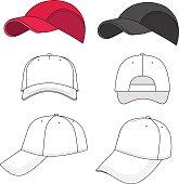Baseball, tennis cap outlined template