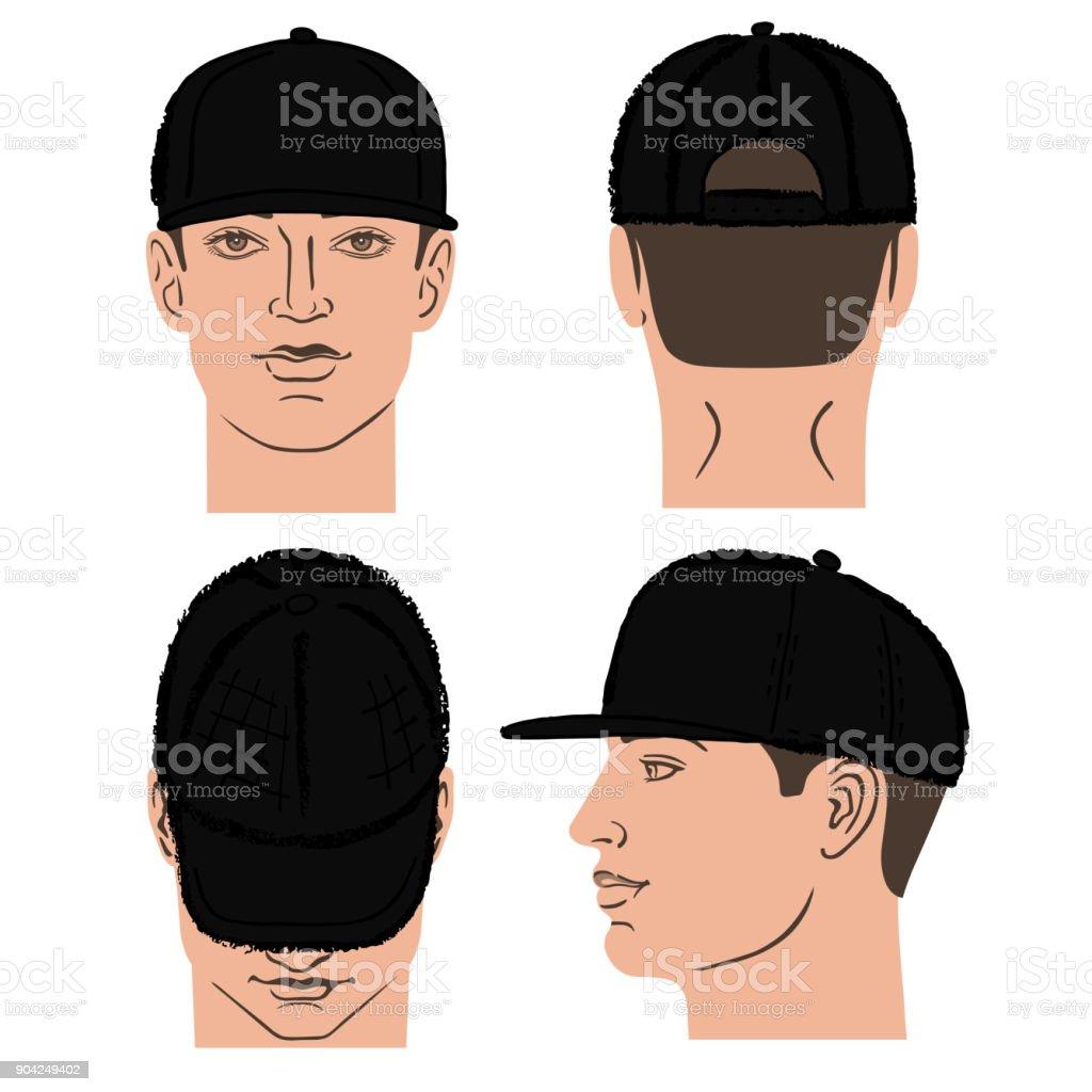 Ilustración de Rap De Béisbol Tenis Gorra Y Hombre De La Cabeza y ...