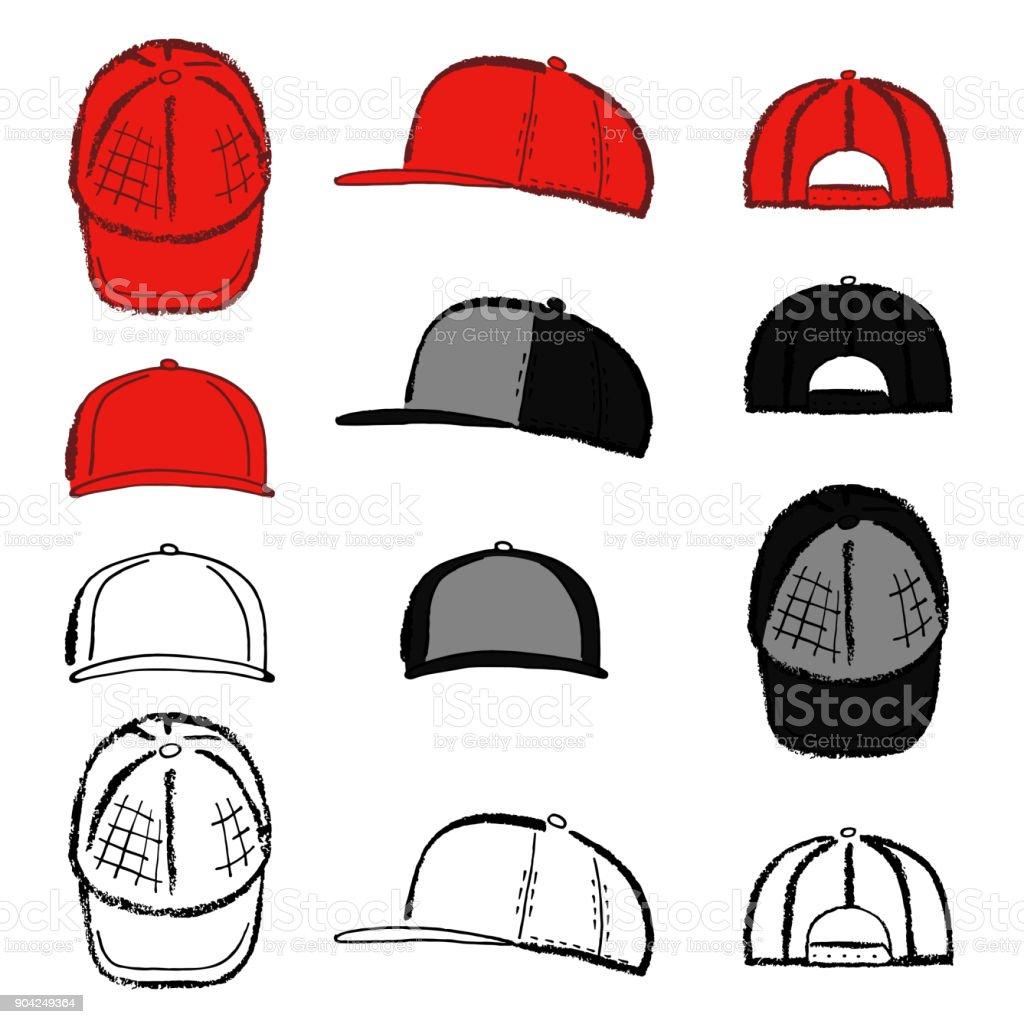 Baseball Tennis Rap Cap Outlined Template Stock Vector Art & More ...