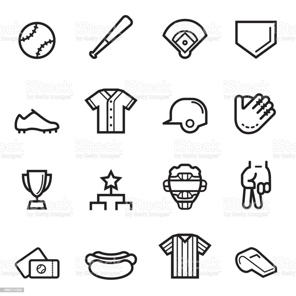 Baseball Thin Line Icons
