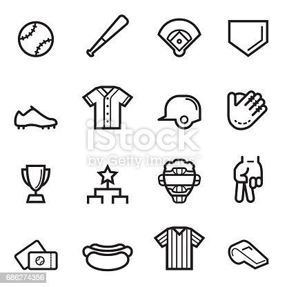 Baseball Thin Line Icons