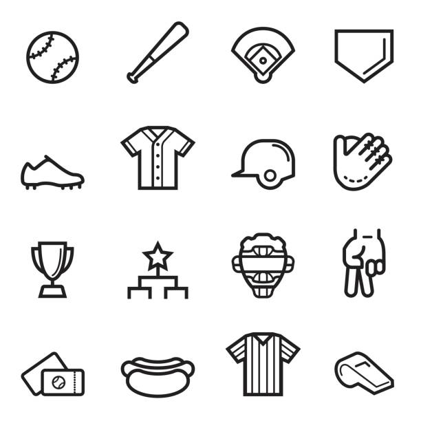 Baseball Thin Line Icons - Illustration vectorielle