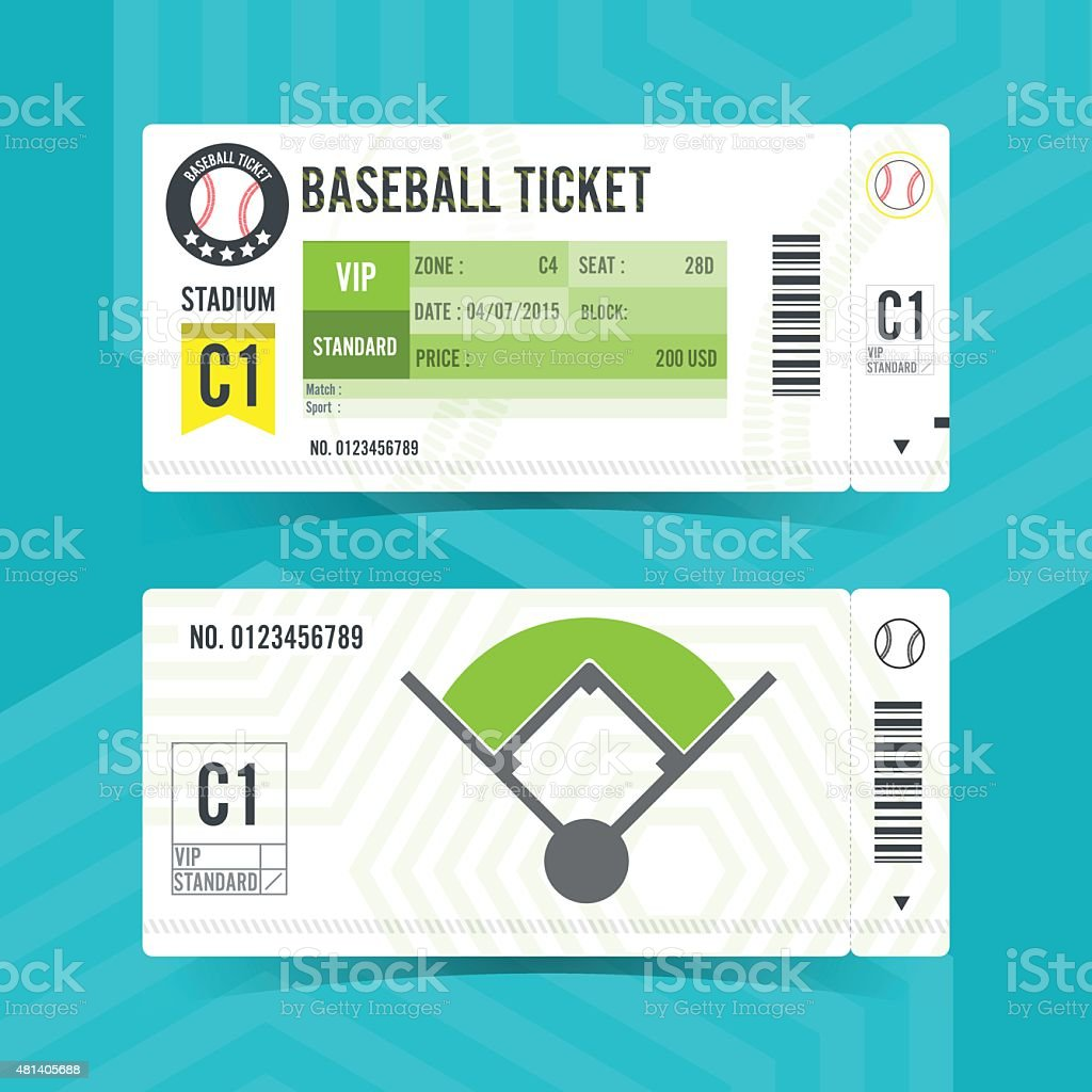 Baseball Ticket Card modern element design vector art illustration