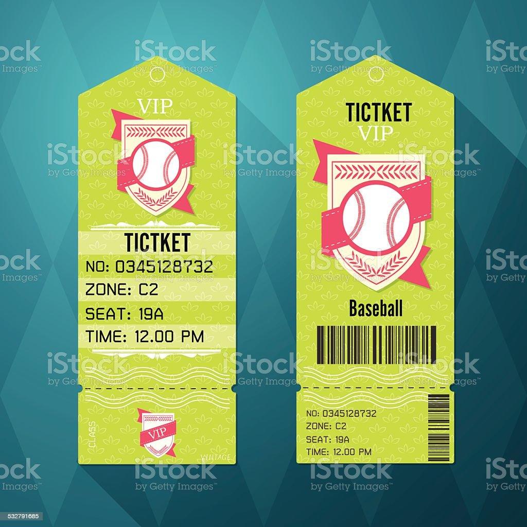 Baseball Ticket Design Template Retro Style. vector art illustration
