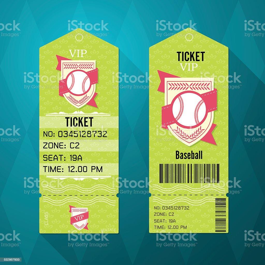 Baseball Ticket Design Template Retro Style vector art illustration