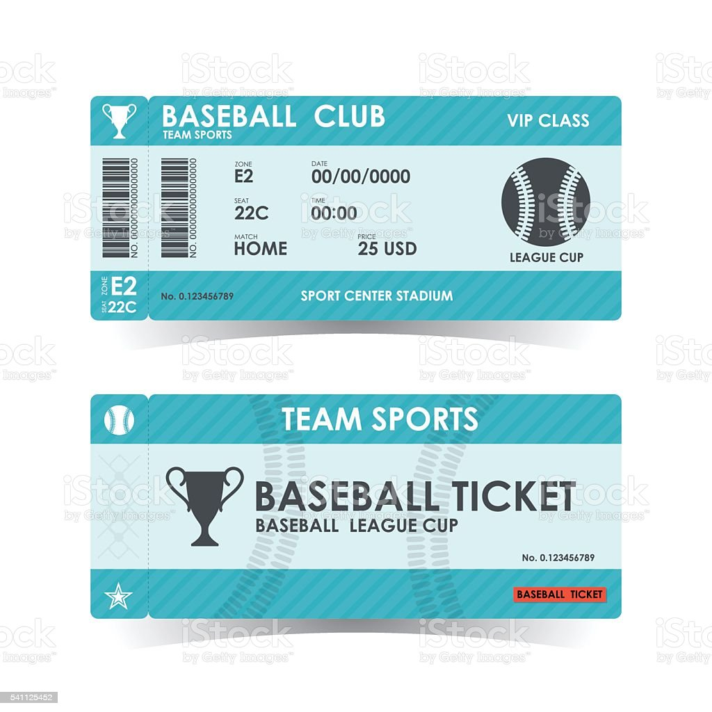 Baseball Ticket, guidelines for element design, Vector illustrat vector art illustration