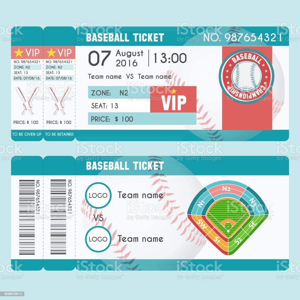 Baseball Ticket Modern Design vector art illustration