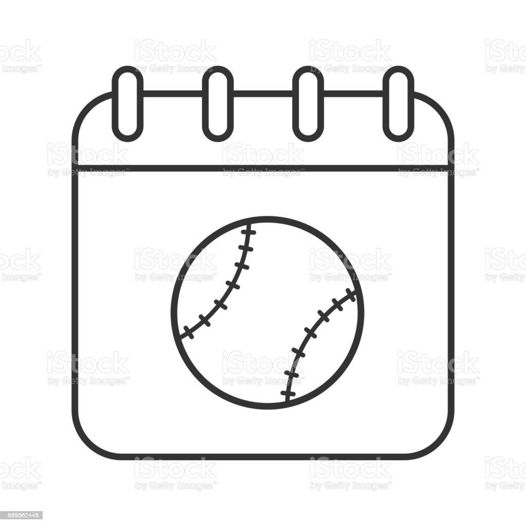 Ícone de data do torneio de beisebol - ilustração de arte em vetor