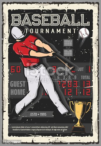 Baseball sport tournament vintage grunge poster. Vector baseball player with bat hit ball on scoreboard background, softball game league championship, golden cup victory