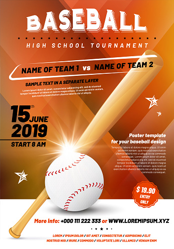 Baseball tournament poster template with ball and bat