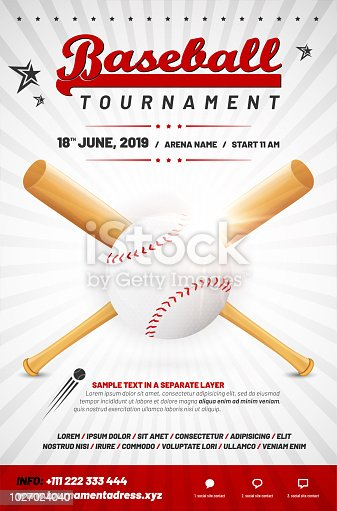 Baseball tournament poster template with ball and crossed bats - sample text in separate layer. Vector illustration.