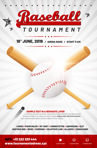 Baseball tournament poster template with ball and crossed bats