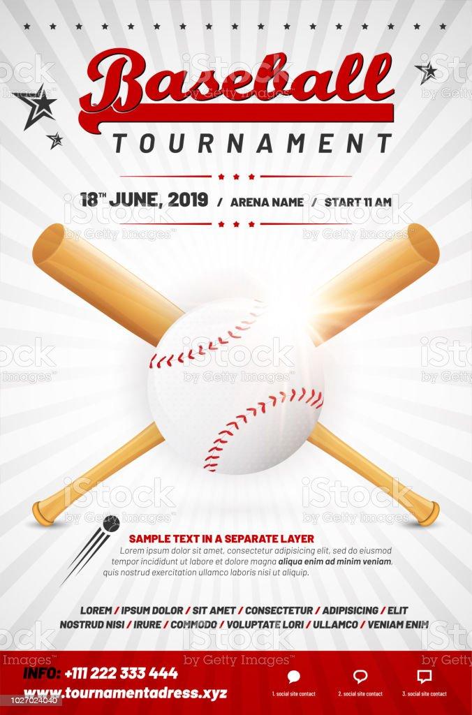 Baseball tournoi affiche modèle avec ballon et bâtons croisés - Illustration vectorielle