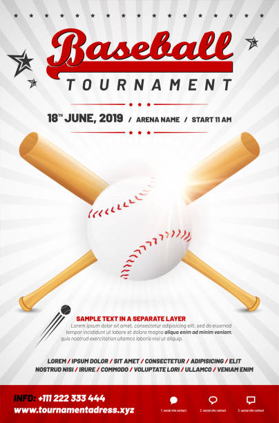 Baseball tournament poster template with ball and crossed bats vector art illustration