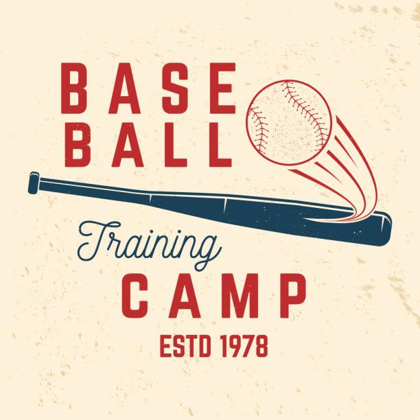 ilustraciones, imágenes clip art, dibujos animados e iconos de stock de campo de entrenamiento de béisbol. ilustración de vector. concepto de sello de camisa o insignia, grabada, o t - béisbol