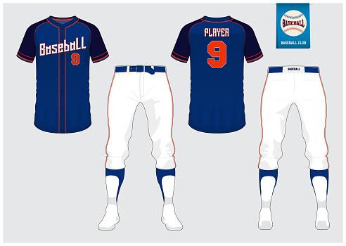 Baseball uniform, sport jersey, t-shirt sport, short, sock template. Baseball t-shirt mock up. Front and back view sport uniform. Flat baseball logo on blue label. Vector.