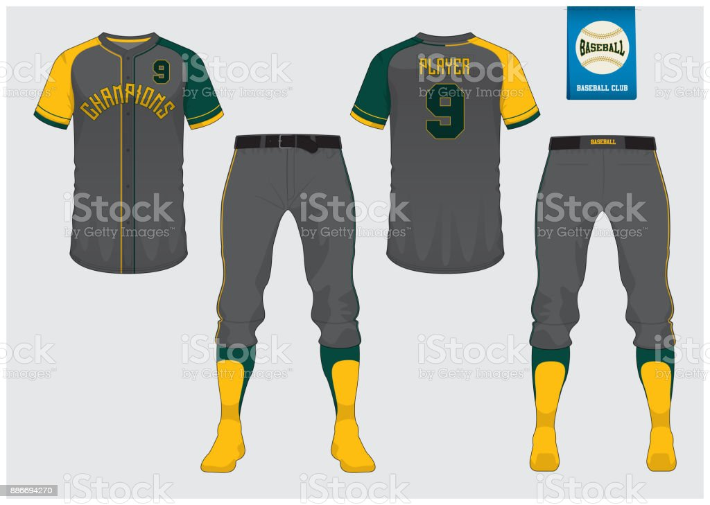 Baseball uniform, sport jersey, t-shirt sport, short, sock template. Baseball t-shirt mock up. Front and back view sport uniform. Flat baseball logo on blue label. Vector. vector art illustration