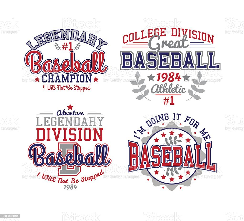 Baseball Varsity Set vector art illustration