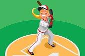 Baseball Vector Girl Mascot Poster