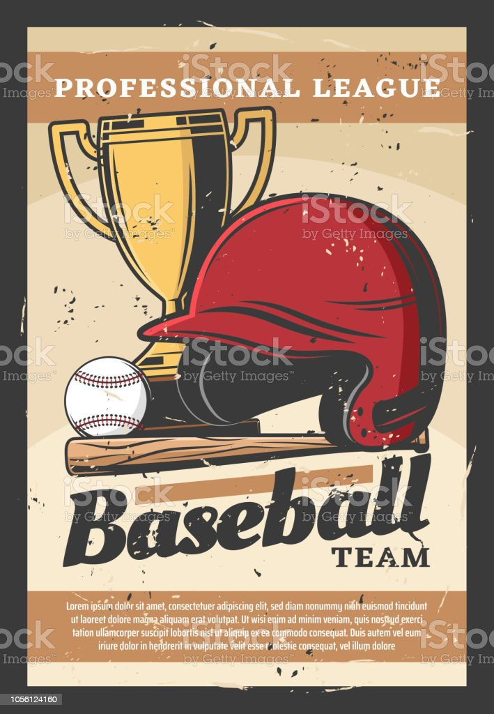 Baseball team sport retro poster. Vector helmet and bat, ball and...