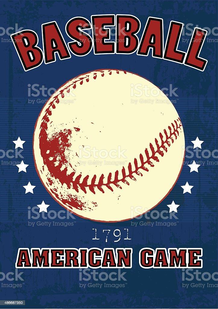 Baseball vintage poster. vector art illustration