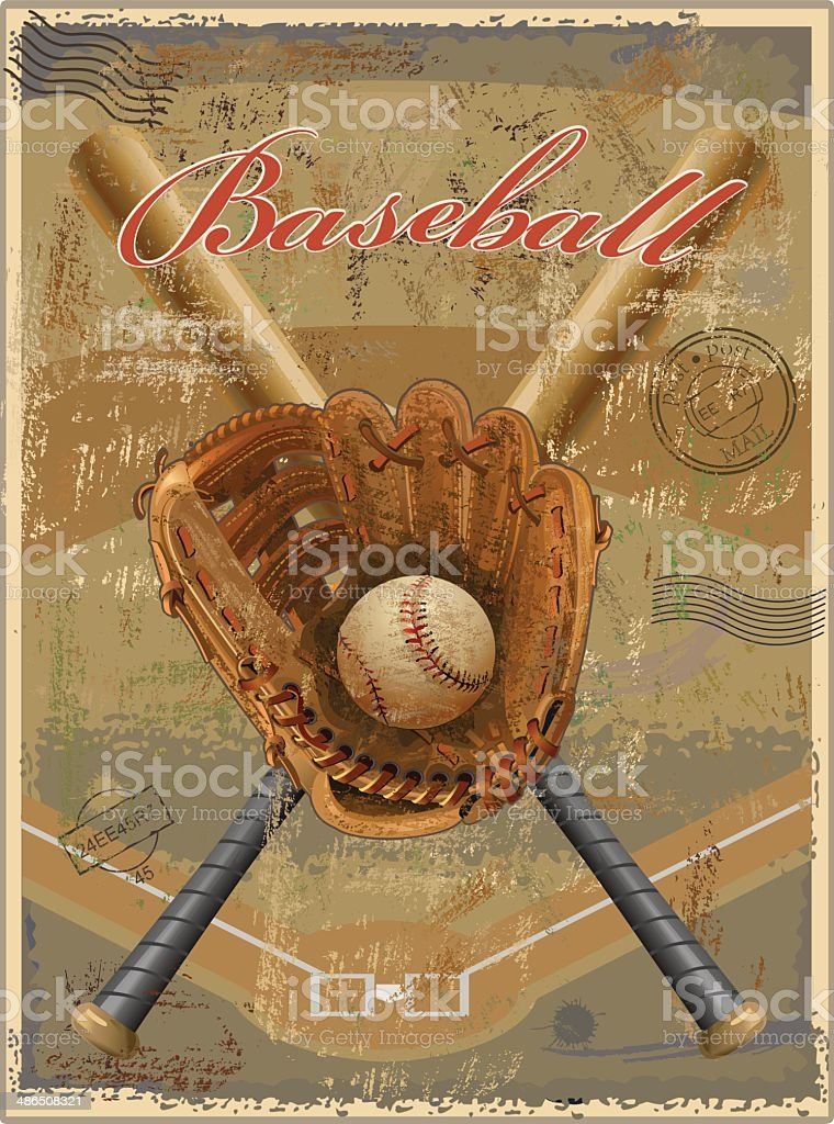 Baseball vintage retro vector art illustration