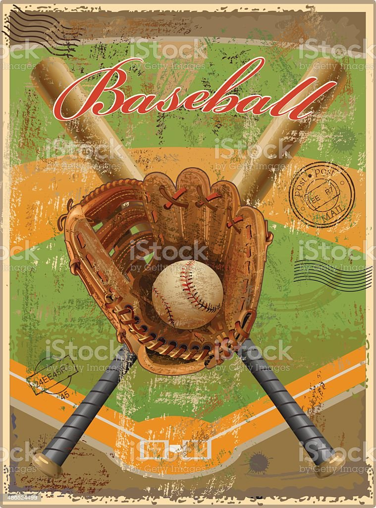 Baseball vintage-retro vector art illustration
