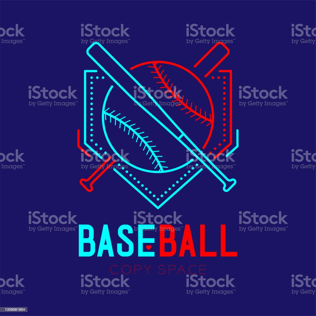 Enjoyable Baseball With Bat And Home Plate Logo Icon Outline Stroke Beutiful Home Inspiration Cosmmahrainfo