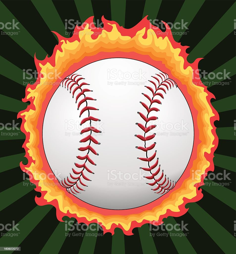 Baseball With Flames vector art illustration