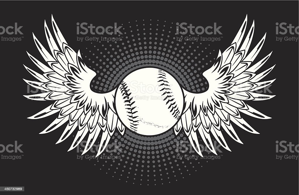 Baseball with wings royalty-free stock vector art