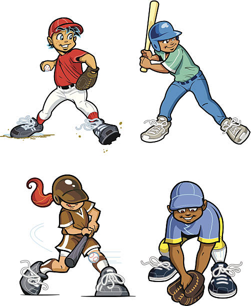 Baseball Youth League Players vector art illustration