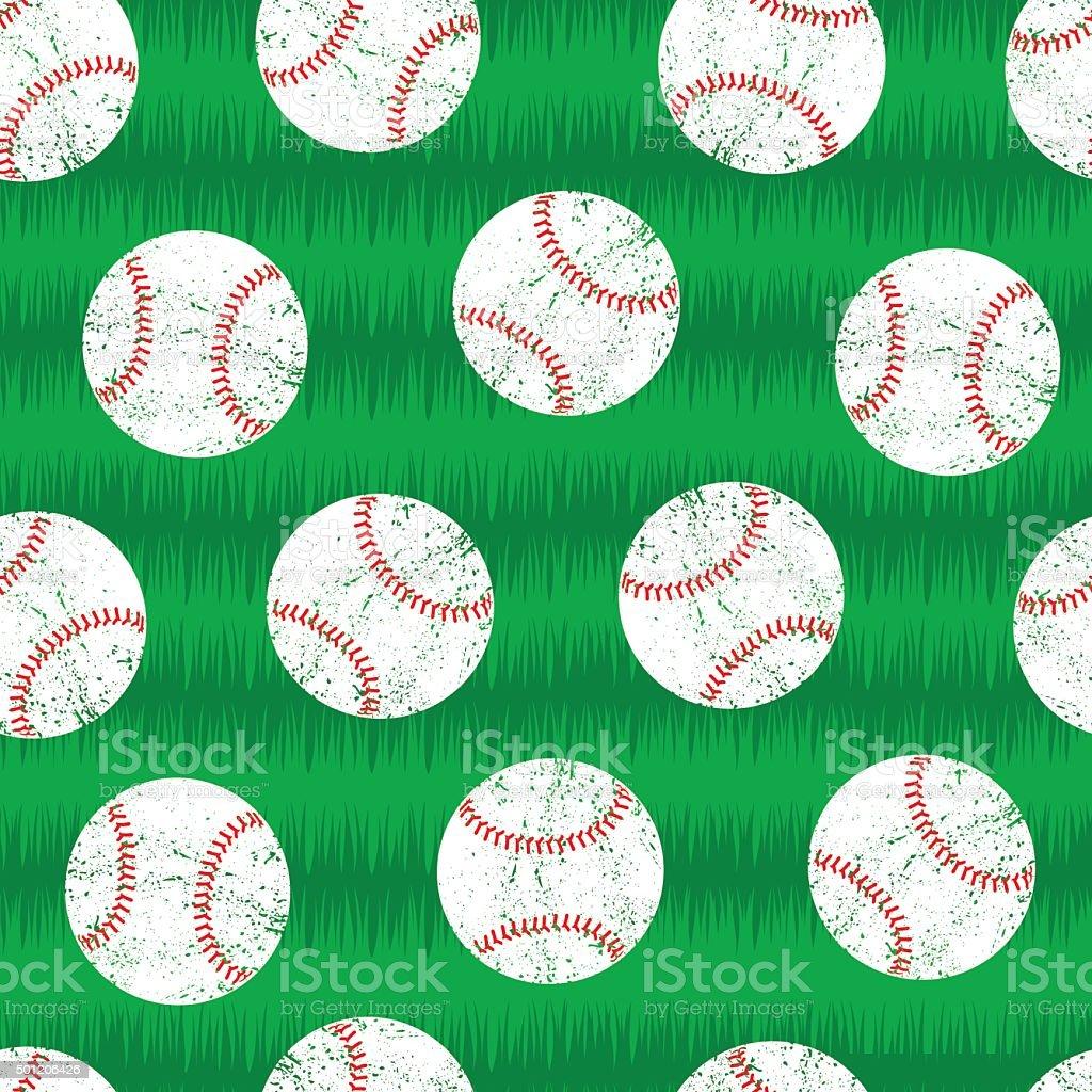 Baseballs on grass seamless pattern vector art illustration