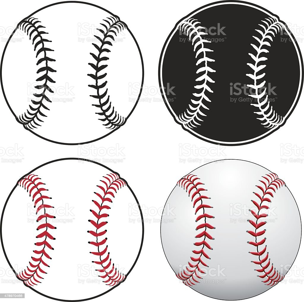 Baseballs vector art illustration