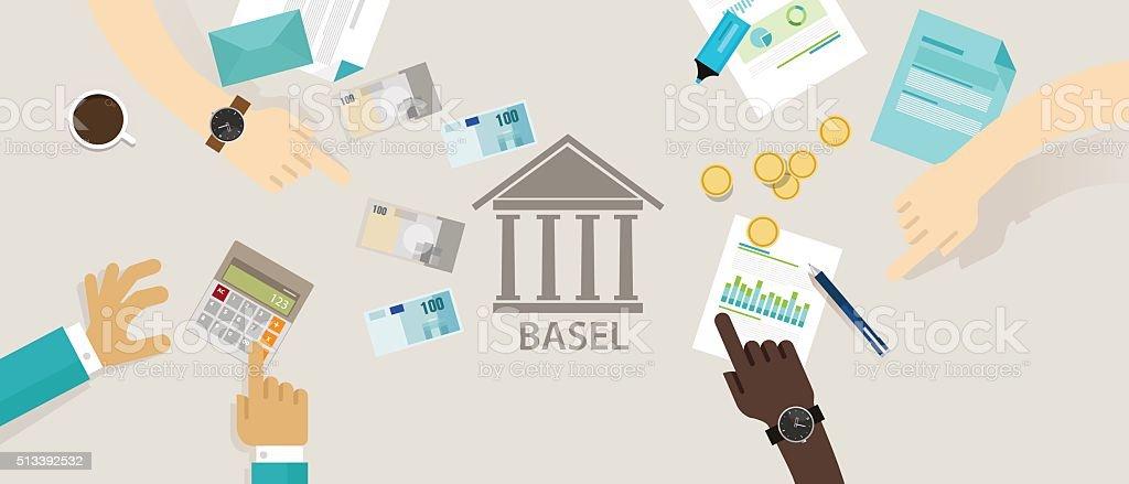 Basel accord Committee on Banking Supervision International regulatory framework for vector art illustration