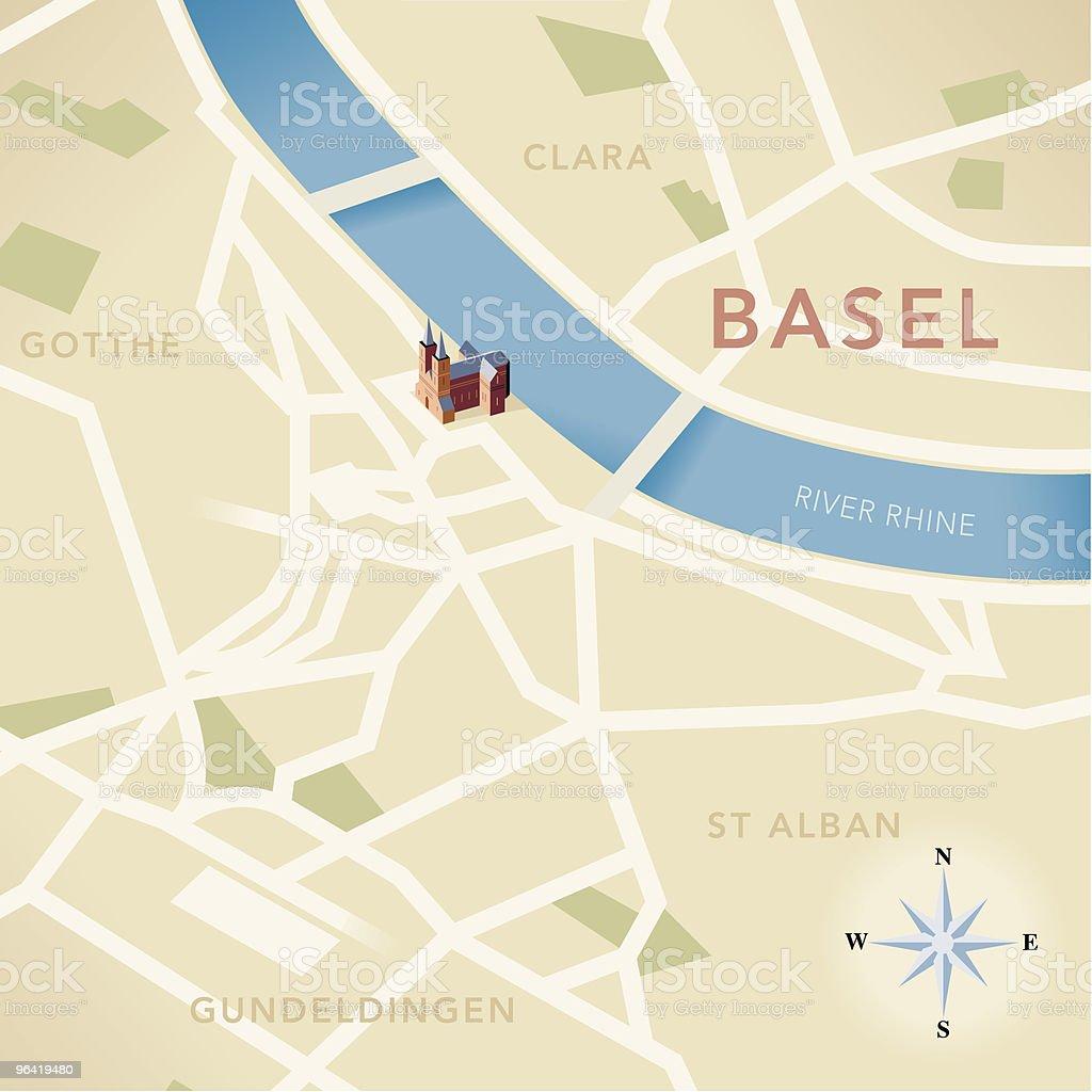 Basel Map vector art illustration