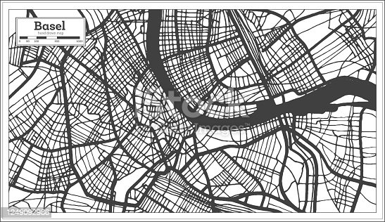 istock Basel Switzerland City Map in Black and White Color in Retro Style. Outline Map. 1249092986