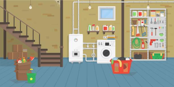 ilustrações de stock, clip art, desenhos animados e ícones de basement. - house garage
