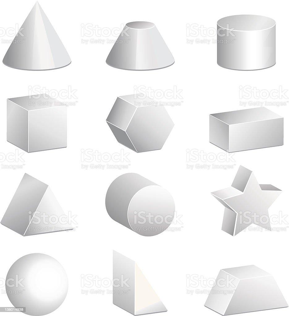 Basic 3d figures in vector royalty-free stock vector art